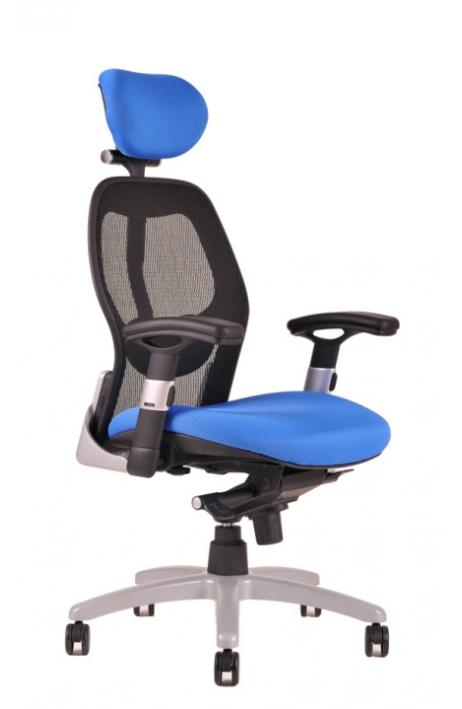 OFFICE PRO kancelářská židle Saturn NET modrá s područkami - prodloužená záruka 3 roky