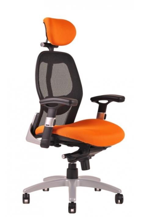 OFFICE PRO kancelářská židle Saturn NET oranžová + područky - prodloužená záruka 3 roky