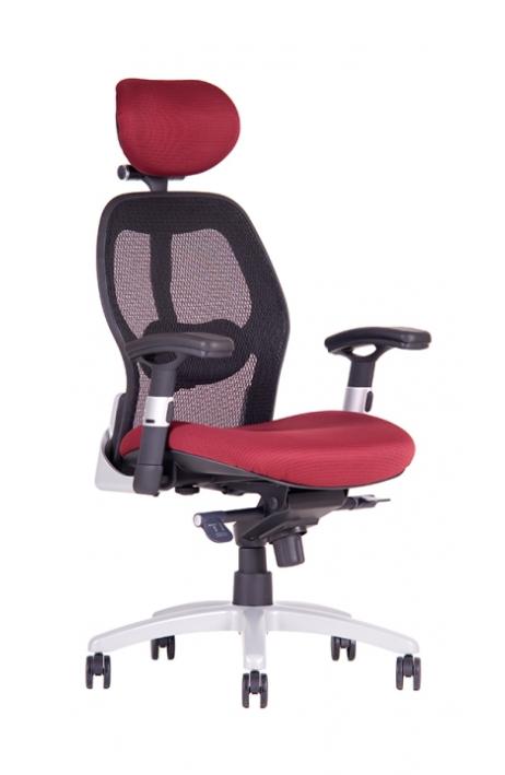OFFICE PRO kancelářská židle Saturn NET vínová s područkami - prodloužená záruka 3 roky